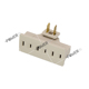 2 Prong 3 Outlet Grounded AC Power Swivel Light Wall Tap Adapter Beige, Surge Protector