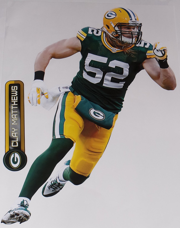 f839d2ea77c Get Quotations · Clay Matthews FATHEAD Green Bay Packers Official NFL Vinyl  Wall Graphics 17