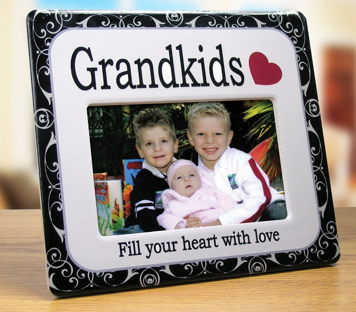 "BANBERRY DESIGNS Grandkids Picture Frame - Ceramic Picture Frame Fits a 4"" X 6"" Photo - Grandkids Fill You Heart with Love - Gift for Grandparents - Grandma Gift - Grandchildren Picture Frame"