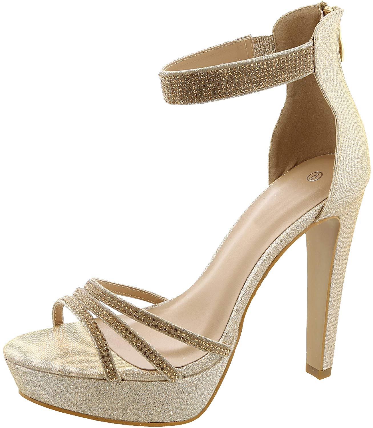 0d12c9bf6e9 Get Quotations · Cambridge Select Women s Open Toe Crystal Rhinestone Ankle  Strappy Chunky Platform Tapered Heel Sandal