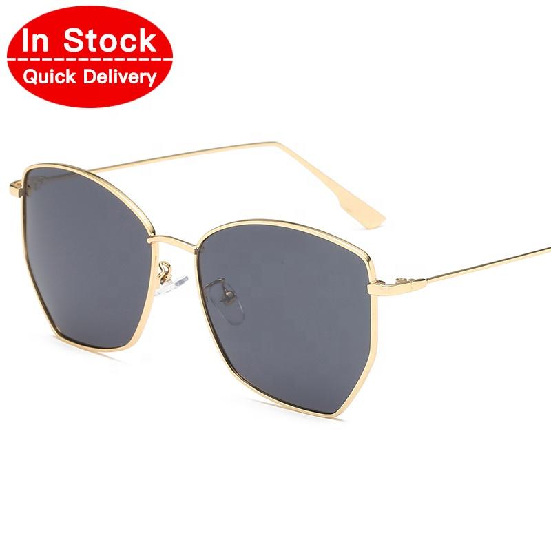 2019 In Stock Fashion Metal OEM Custom Logo Women Wholesale Men Polygonal lentes de sol Sun Glasses Eyewear Sunglasses 2817