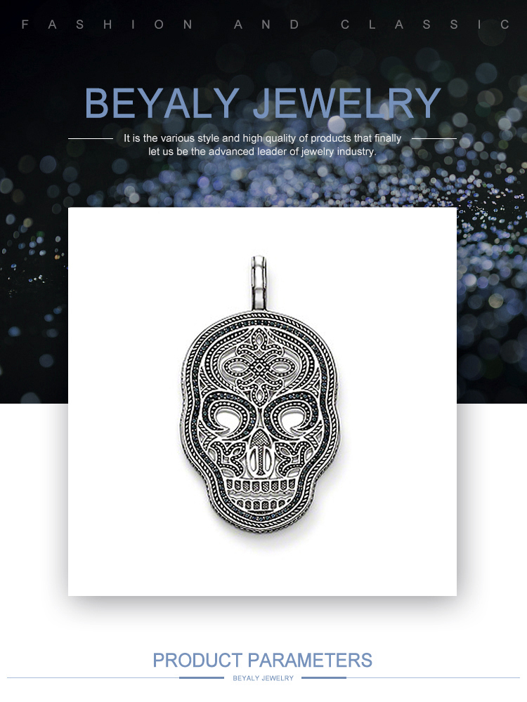 Hight quality silver skull engraved mexican costume jewelry