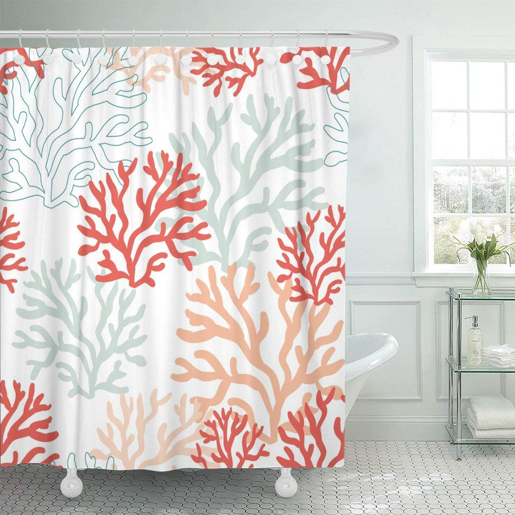Get Quotations Emvency 72x72 Shower Curtain Waterproof Mildew Background Red Pink And Mint Corals