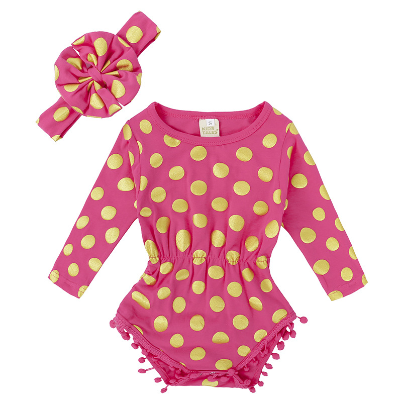 2017 Summer Baby Girls Clothes Long Sleeve Infant Bebes Dot Romper Halter Jumpsuit +Headband 2pcs Outfit Set фото