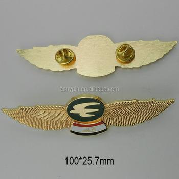 9c3c19b7d6a Metal Ouro Piloto De Avião Asa Pin Crachás Personalizados - Buy ...