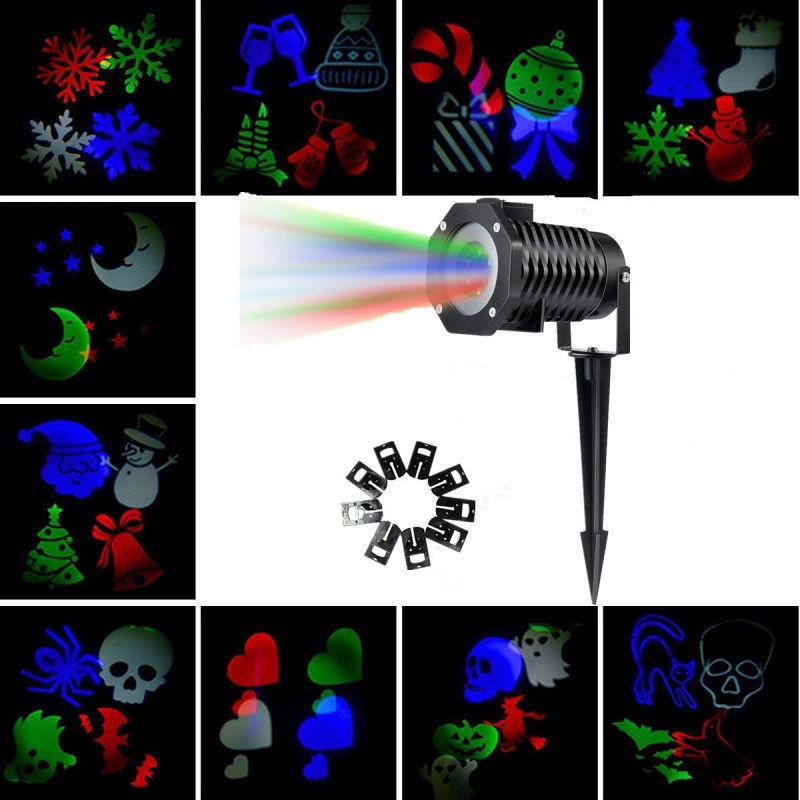 Outdoor christmas laser light ip65 holiday decoration snow projector waterproof white rgbw chritsmas snowflake light