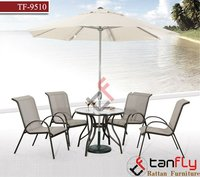 Modern PE rattan garden dining set with umbrella outside furniture