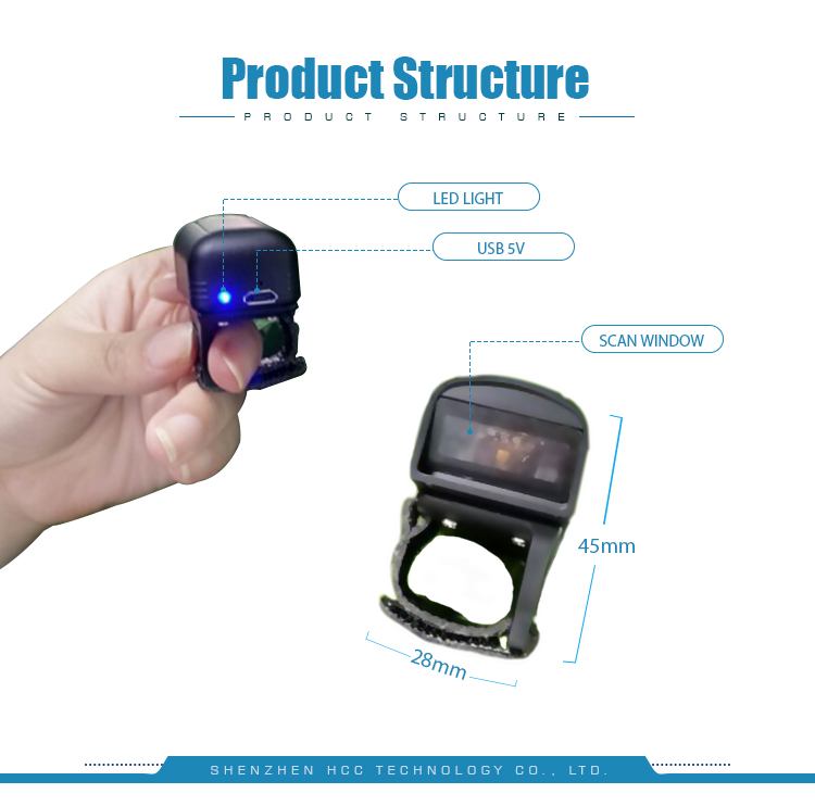Mini Wearable IP65 2D Bluetooth Ring Barcode Scanner HS-S02