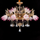 Empire French style large hotel project glass flower lamp chandelier