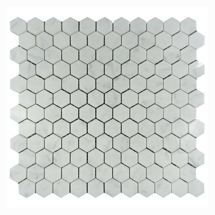 High Quality 25x25 Hexagon Marble Tile Floor Carrara White Tiles