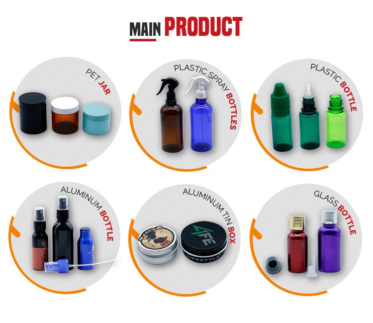 stock schwarz Weithals Kunststoff PET-Glas Kosmetikbehälter Lebensmittel 4oz 8oz 16oz