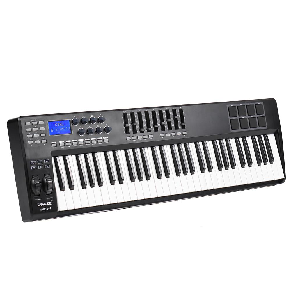 panda61 61 key usb midi keyboard controller 8 drum pads with usb cable high quality usb midi. Black Bedroom Furniture Sets. Home Design Ideas