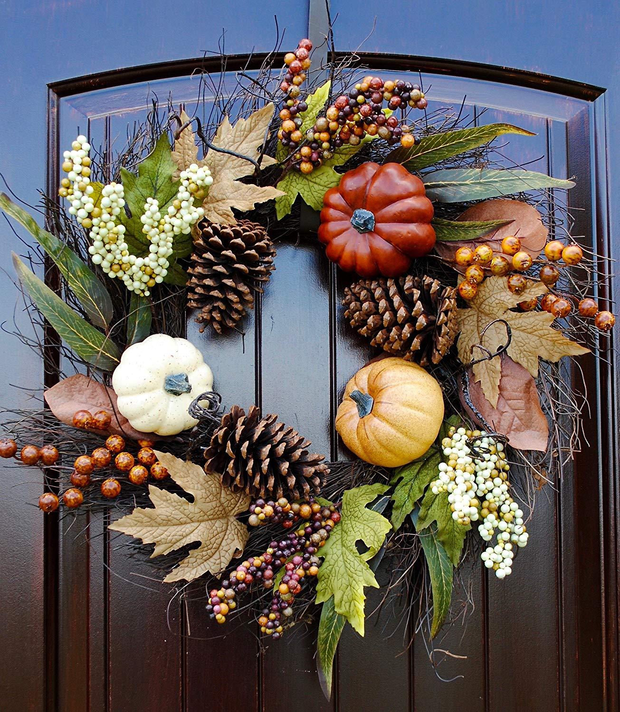 Fall wreaths, fall wreath for front door, wreath for door, wreaths, fall fruit wreath, wreath with fall colors, harvest wreath, pumpkin wreath