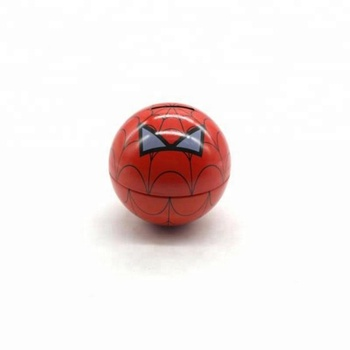 Ball shaped tin can money box sign Spider-Man for kids