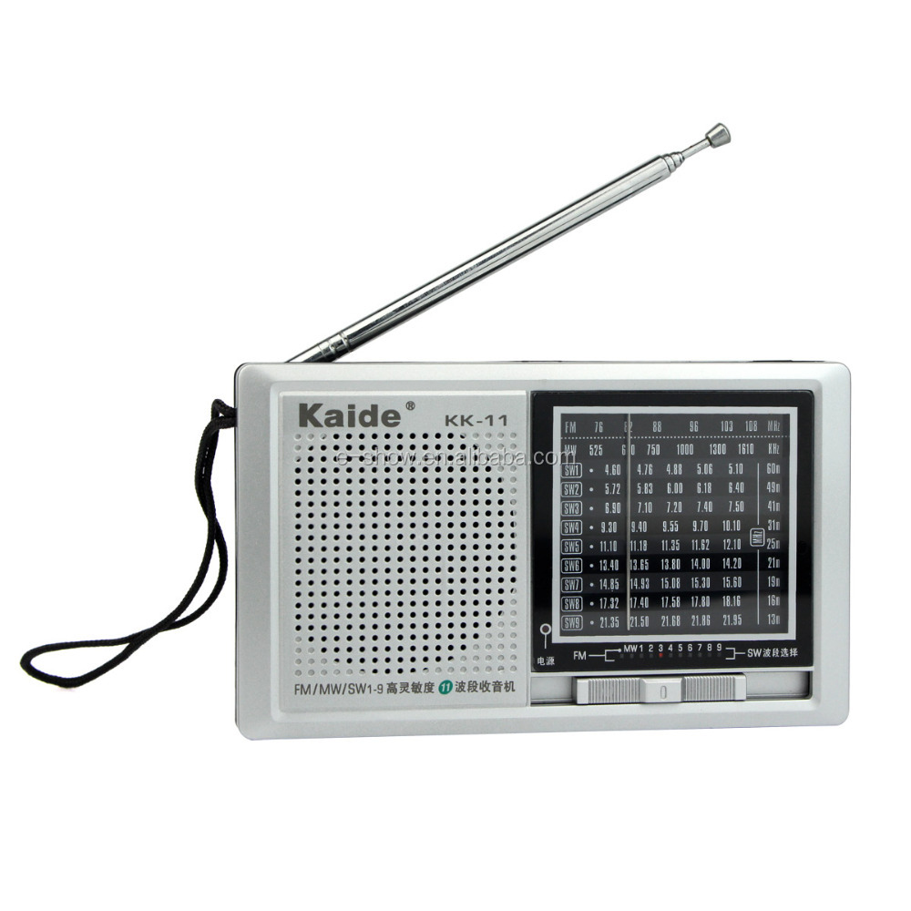 High Sensitivity <strong>11</strong> multi Band Radio FM / MW / SW1-9 Pocket Receiver + DC Power Kaide KK-<strong>11</strong>