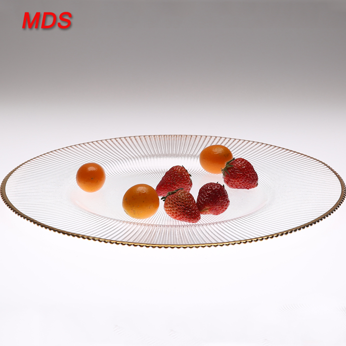 Wholesale round flat charger gold rim glass plate