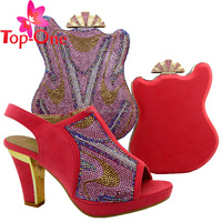 Latest design shoes and matching bag/bag and shoes set for ladies/italian shoes and bag set for Nigerian weddings