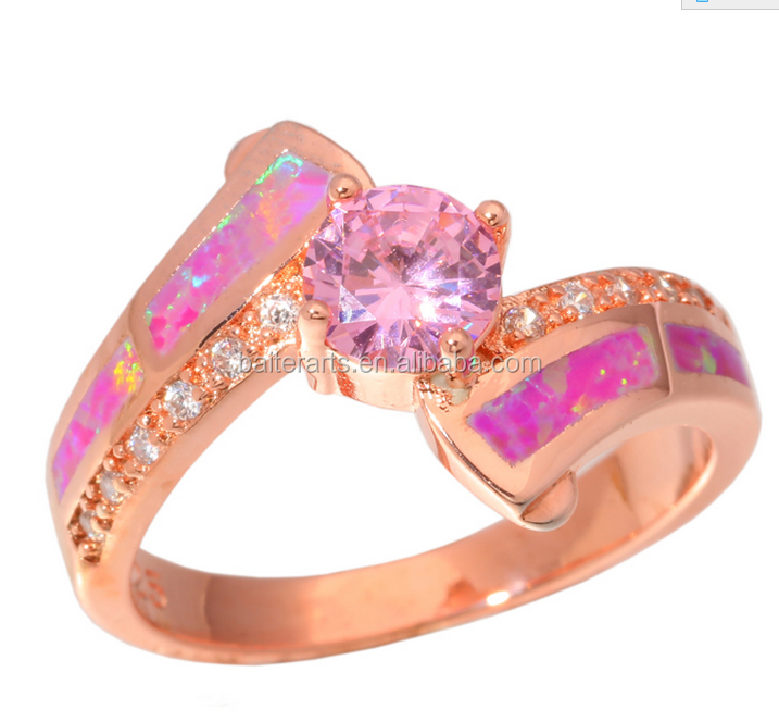 Manufacturer Fashion Rose Gold Plated Pink Fire Opal CZ Cubic Zirconia Ring Size 5-12