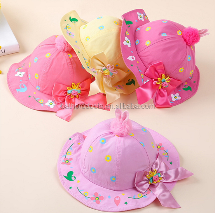 China market multi color organic baby hat with bowknot