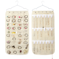 non woven hanging jewelry organizer with 40 pockets,20 magic tape hanging