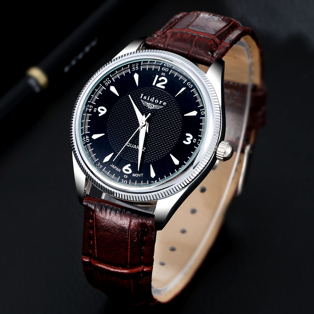 Leather Strapped Analogue Wrist Watch For Men - Black |Wrist Watch For Men Leather