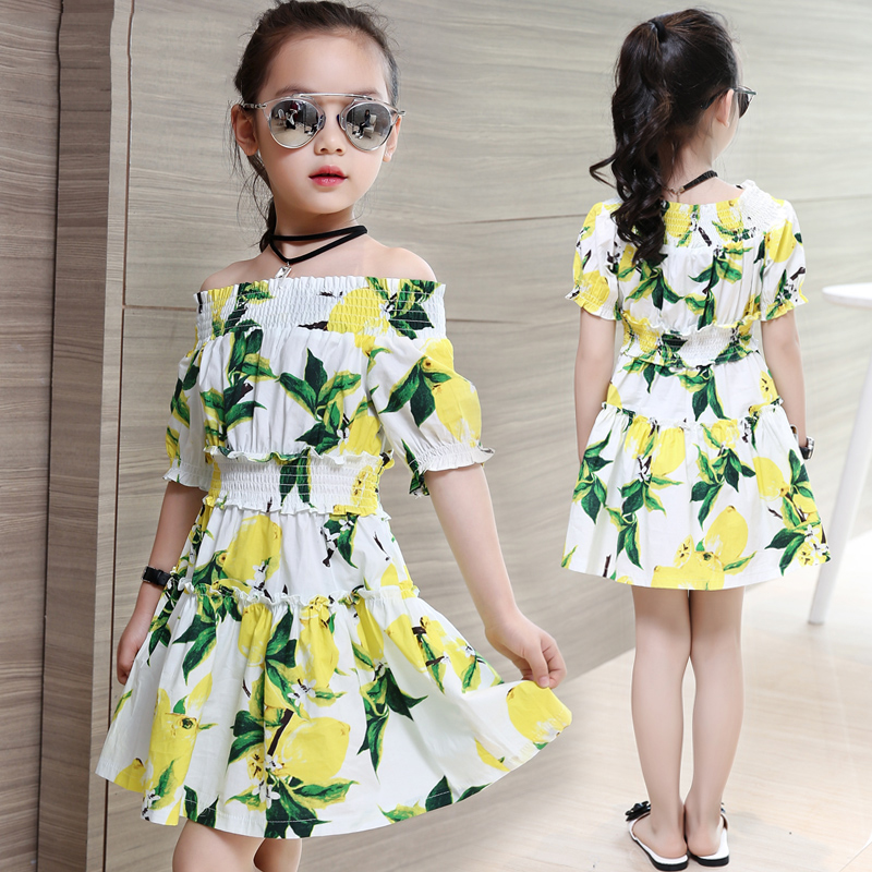 Summer Dress Girl Lemon Printing Dress Kids 2016 Lotus Lace Waist Dress For Girl Kids Fashion Kids Clothes Girls 586Z