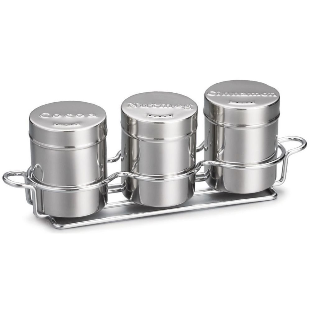 Tablecraft 3-Piece 6 Oz S/S Countertop Shaker Set with Chrome Rack