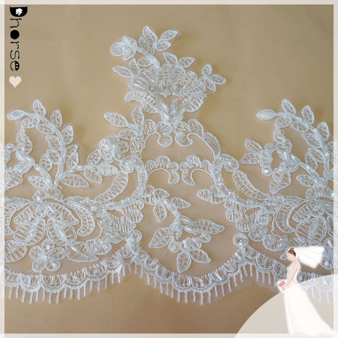 DHBL1745 - 22cm/By Yard~Embroidered Tulle Lace Trim~Ivory White~The Angel in a Dream~Wedding Lace