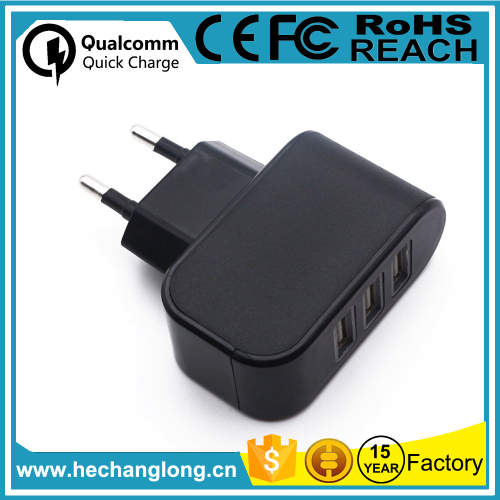 Factory Directly 110v 240v 3.1a 3 usb port home charger for travel