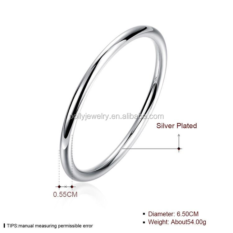 Wholesale Fashion Jewelry 925 Silver Plated Bangles Thin Plain Copper Bracelets Bangle