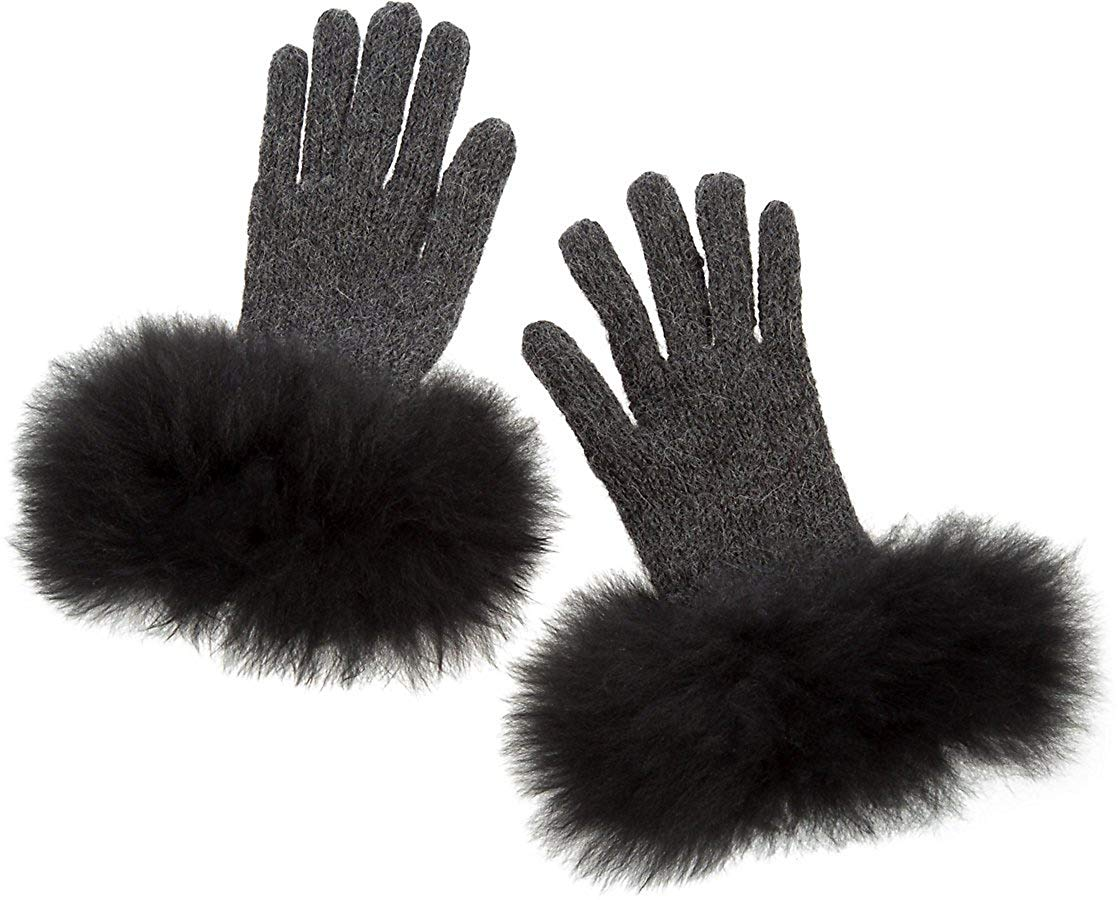 640c62e7f0a Get Quotations · Women s Peruvian Alpaca Wool Gloves with Alpaca Fur Trim