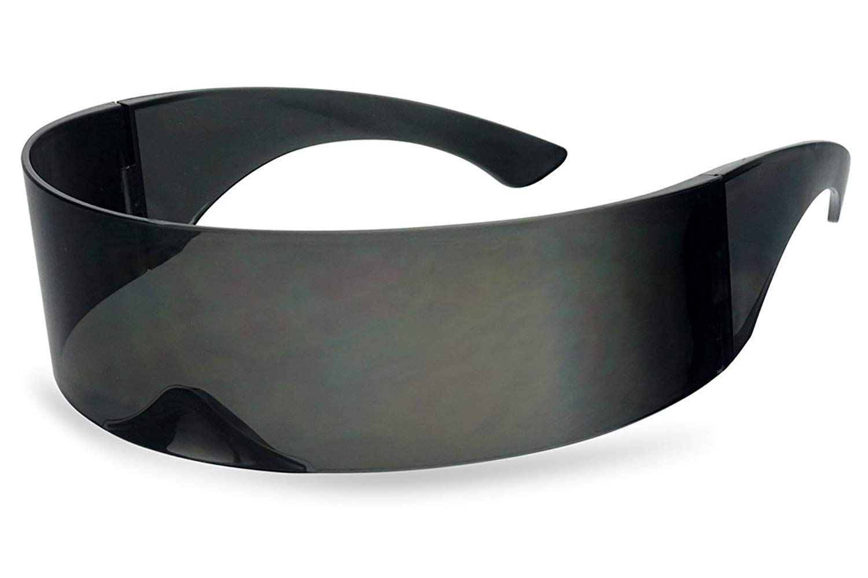 483092511a Get Quotations · Black Retro Futuristic Single Shield Color Oversized Wrap  Cyclops Visor Sunglasses