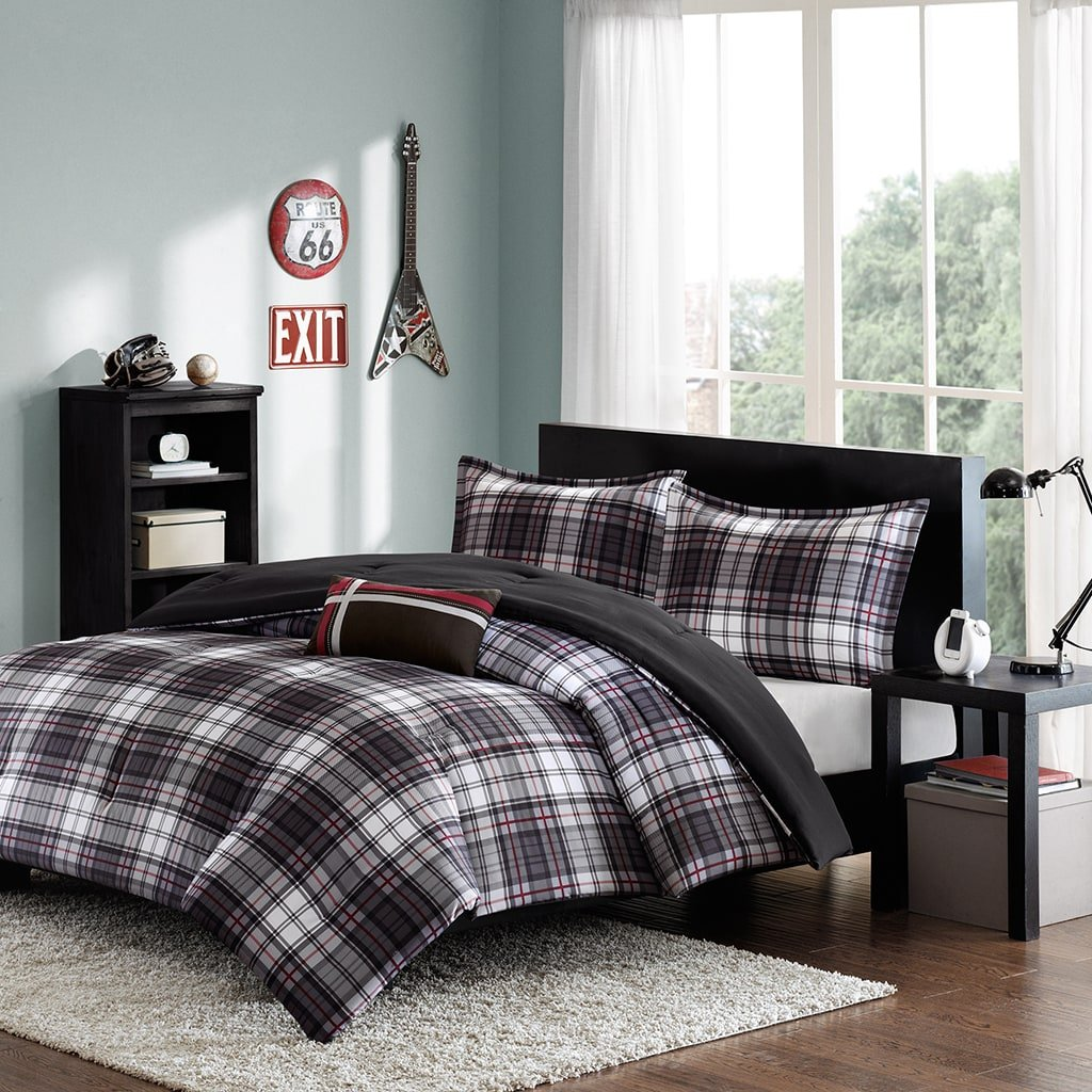 3 Piece Black Grey Red Classic Tartan Plaid Pattern Comforter Twin/ Twin XL Set, Elegant Stripe Checkered Design, Solid Reversible Bedding, Features Hypoallergenic, Soft & Comfy Polyester, For Unisex
