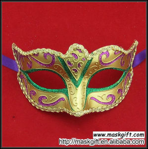 Wholesale High Quality Mardi Gras Mask Purple Green Gold Plastic Masquerade Cheap Masks