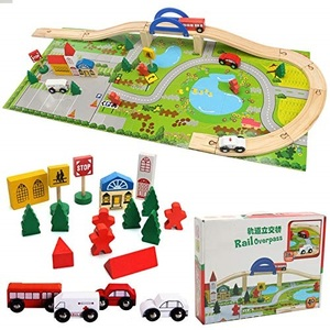Urban Rail Overpass Toy Traffic Scene Train Track Wooden Toy 40pcs