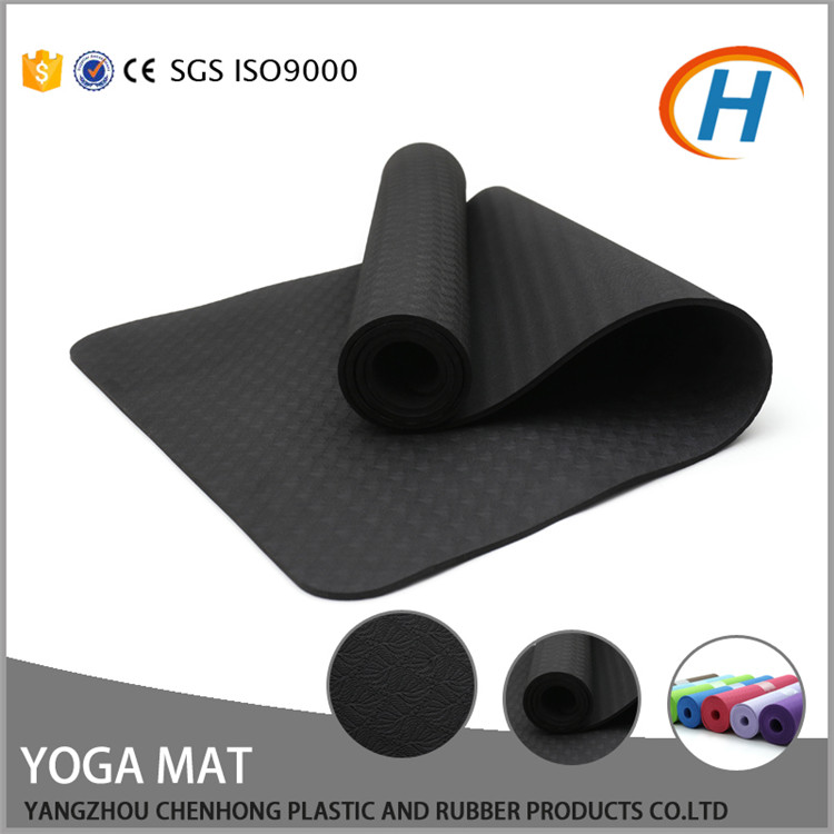Eco Anti Slip 6mm Thickness Custom Printed Black TPE Yoga Mat