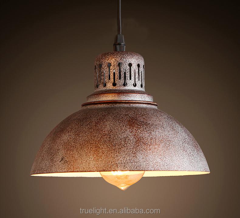 Metalen roest hanglamp e27 socket opknoping licht industri le vintage lamp kroonluchters en - Licht industriele vintage ...