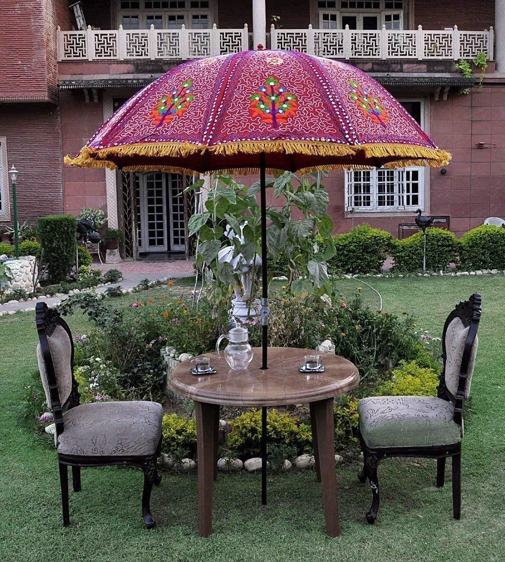 Get Quotations Megacraft Indian Garden Umbrella Fl Multi Sun Shade Patio Beach Parasol Outdoor Cotton