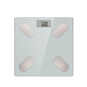 Large Glass Platform Body Fat Scale with 4 High Precision Sensors