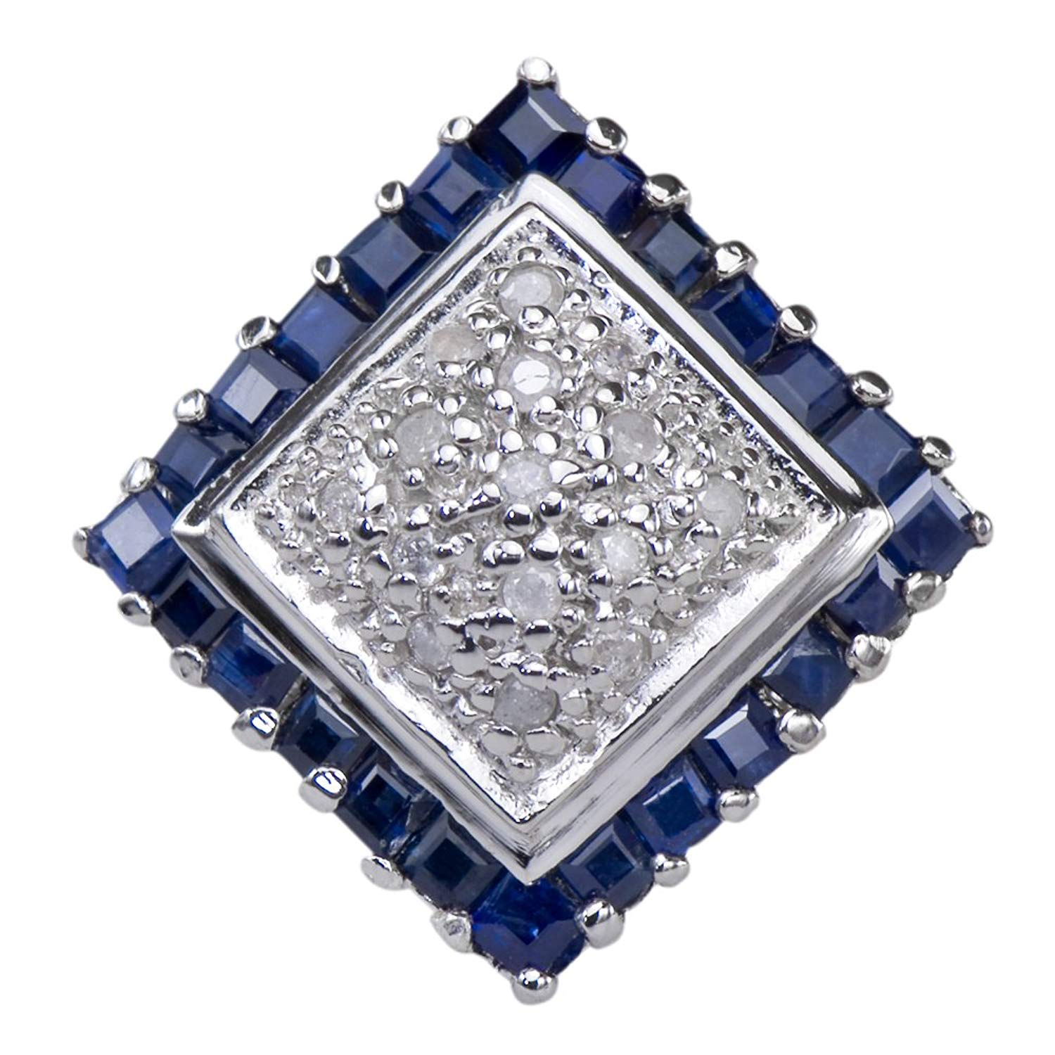 Caratera Fine Jewelry Natural Sapphire Gemstone 925 Sterling Silver Diamond Cluster Jewelry Band Ring