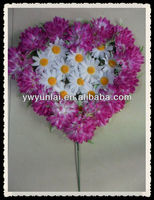 New purple heart shape funeral artificial flower wreath for grave arrangement