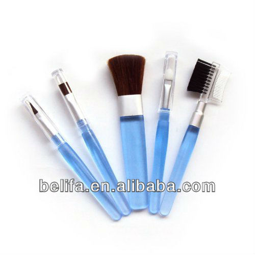 5pcs hot sale blue makeup brush set with powder brush eyelash brush nail brush eyeshadow brush
