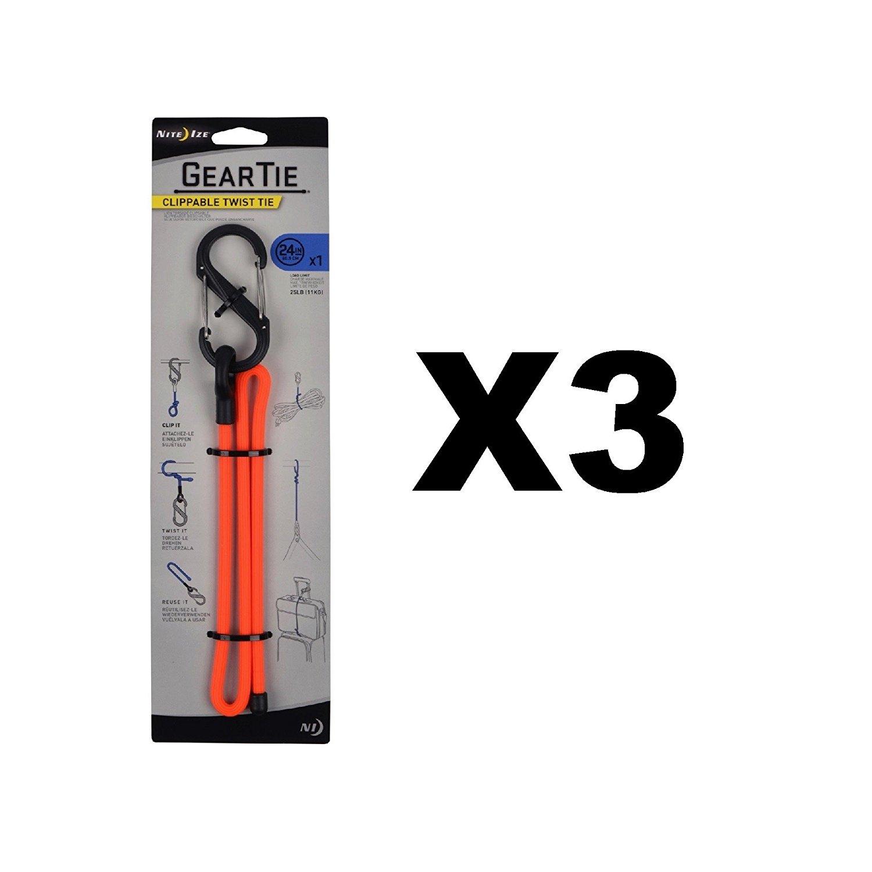 "Nite Ize Gear Tie Clippable 12/"" Neon Yellow Durable Twist Tie w// S-Biner 3-Pack"