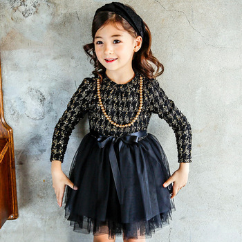 S66061A Fashion Cute Kids Clothes Long Sleeve Princess Party Dress