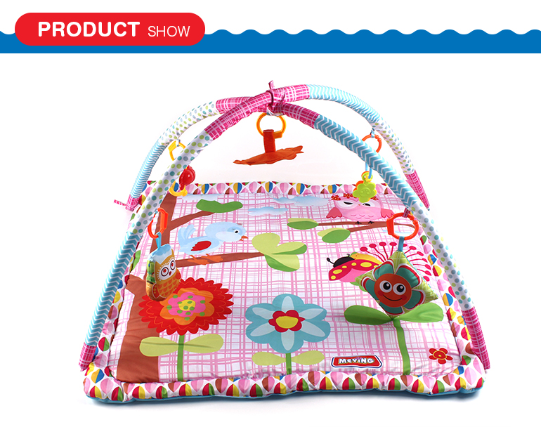 Good quality comfortable folding cartoon style baby play mat cotton with accessory
