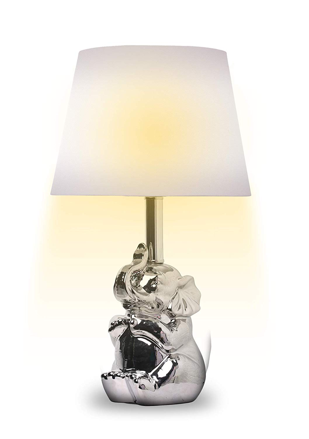 Get Quotations 19 Ceramic Elephant Gold Silver Finish Table Lamps With Shade