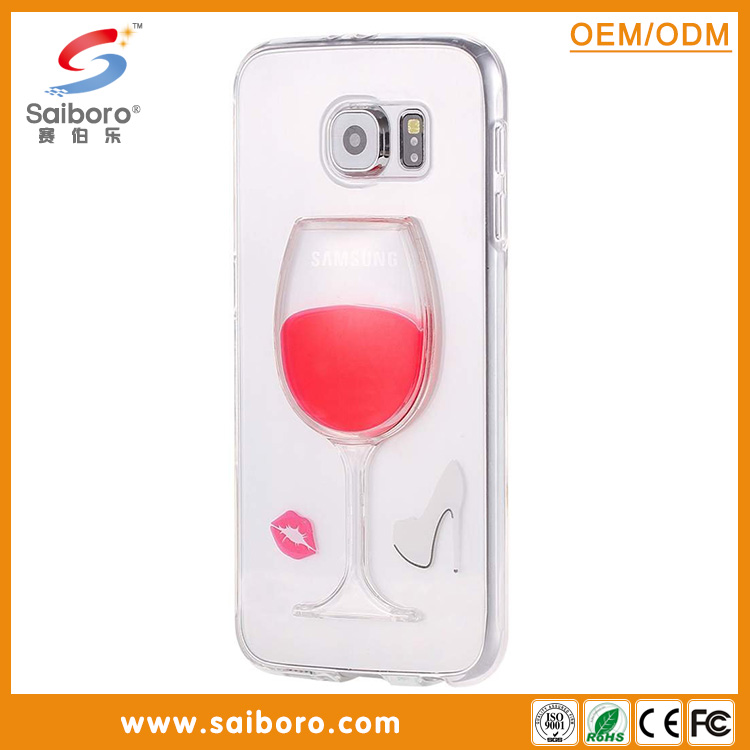 2016 Popular cell phone case with Red Wine Glass for samsung S6