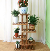 Customized unique indoor corner wooden plant stand