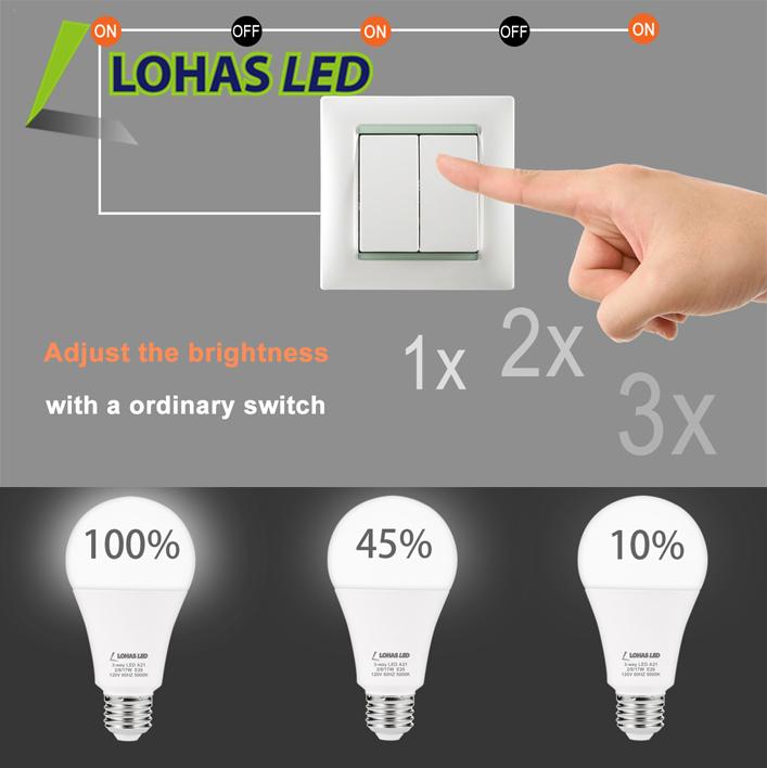 2w 8w 17w Daylight 5000k 3 Brightness Way Dimmable Smart Led Light Bulb