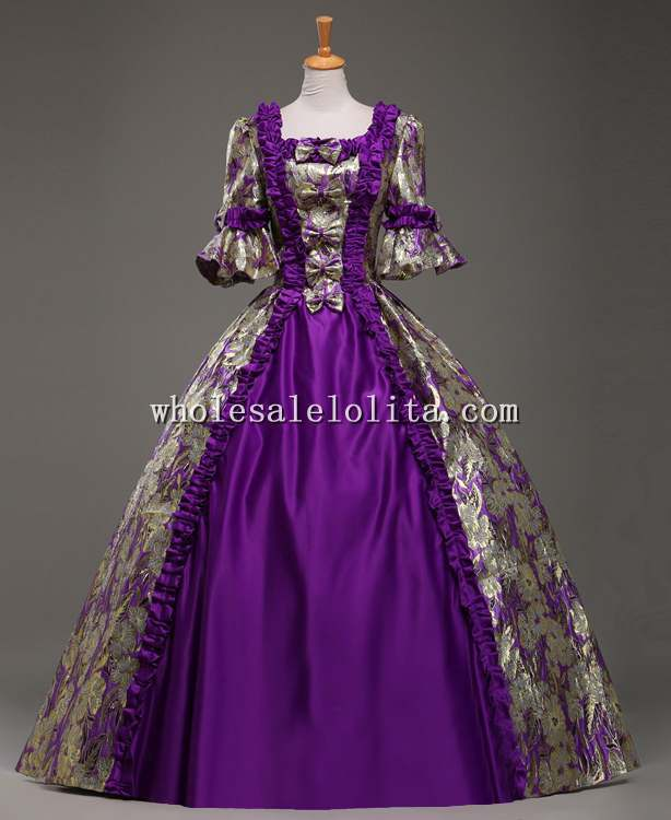Vintage Purple Gothic Ball Gown Wedding Dresses With Cloak: 18th-Century-Purple-Marie-Antoinette-Period-Dress-Ball